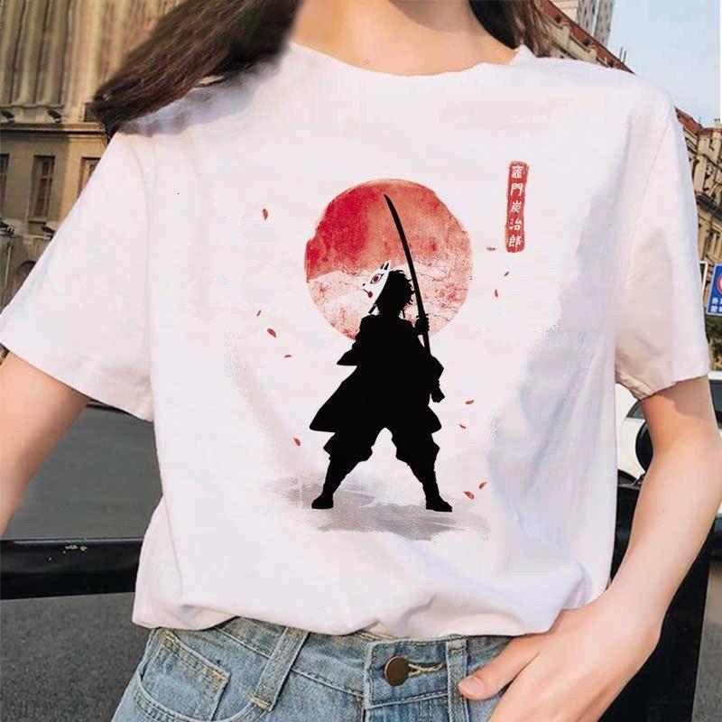 T-shirt Femme T-shirt anime japonais T-shirt Dames Ulzzang Harajuku Chemise Cartoon Graphics Kimetsu No Yaiba Kawaii