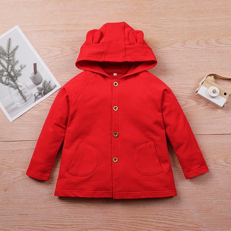 Inverno crianças casuais de algodão manga comprida com capuz Único breasted vermelho sólido casual meninas ou meninos hoodies 2-6t j0306