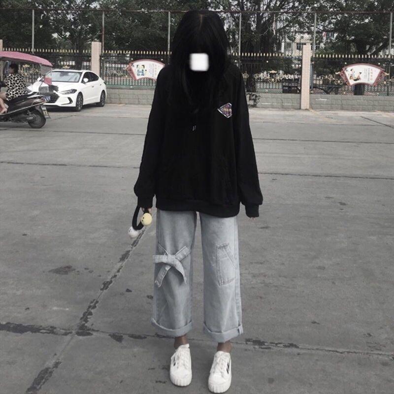 Джинсы женские прямые трубки свободно студент корейский высокий талию маленький дизайн смысл широкие ноги папочки брюки