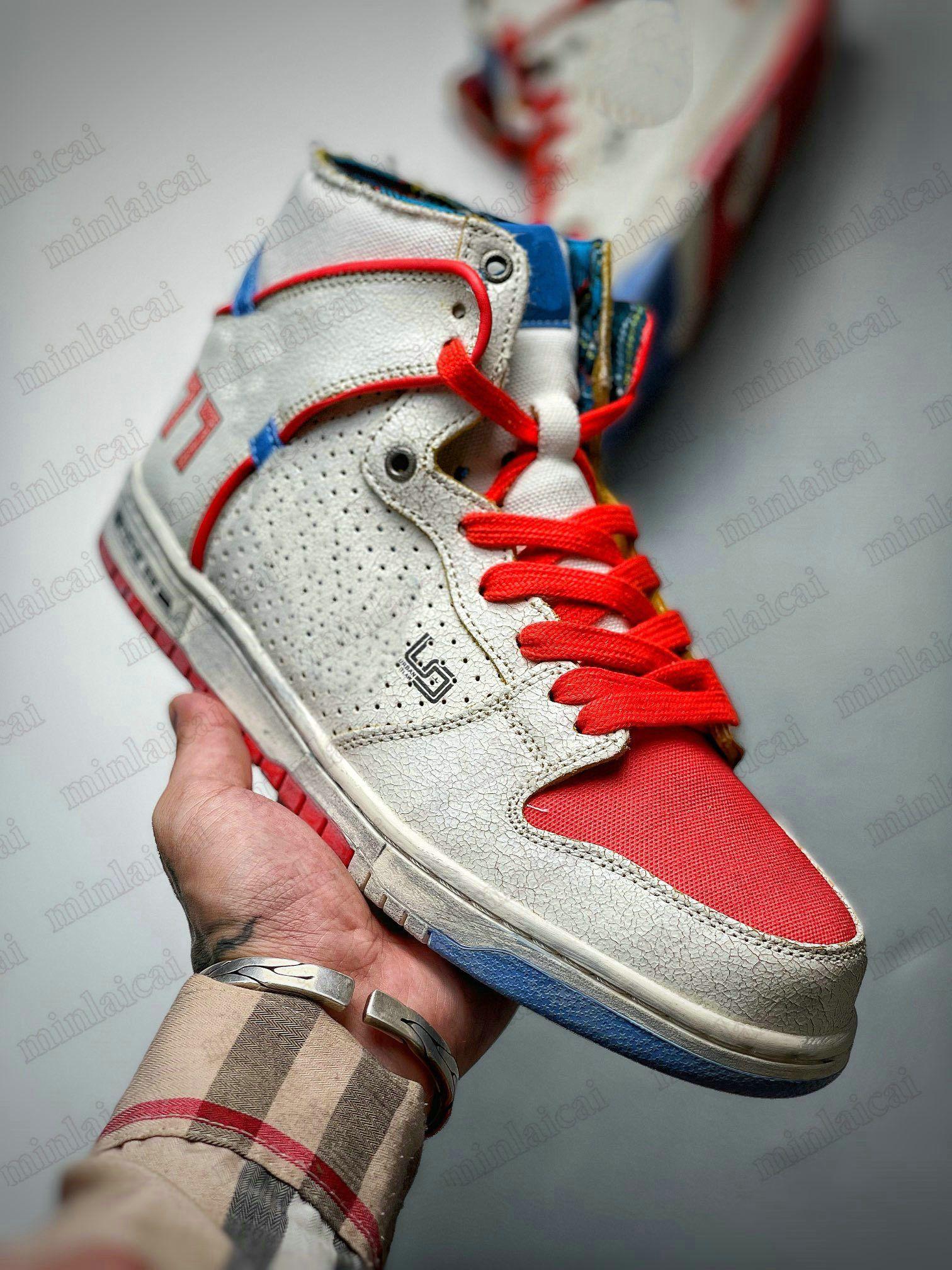 Ishod Wair x Magnus Walker High Dunks Designer Sportschuhe Urban Outlaw Weiß Blau Rot 277 Dunk Trainer Skateboard Sneakers