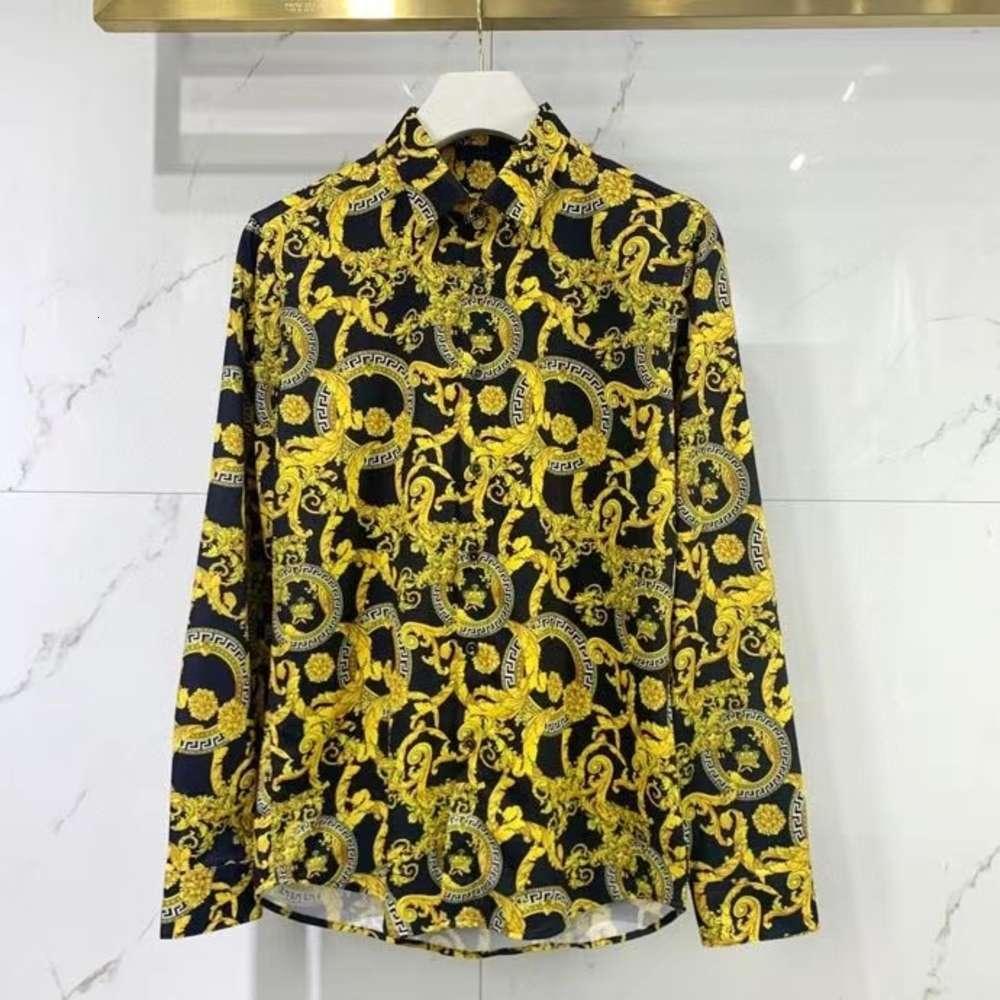 2021 Новый модный мужской дизайнер красивые печать рубашки ~ рубашки китайский язык ~ отличный мужской дизайнерская кнопка с длинным рукавом рубашки