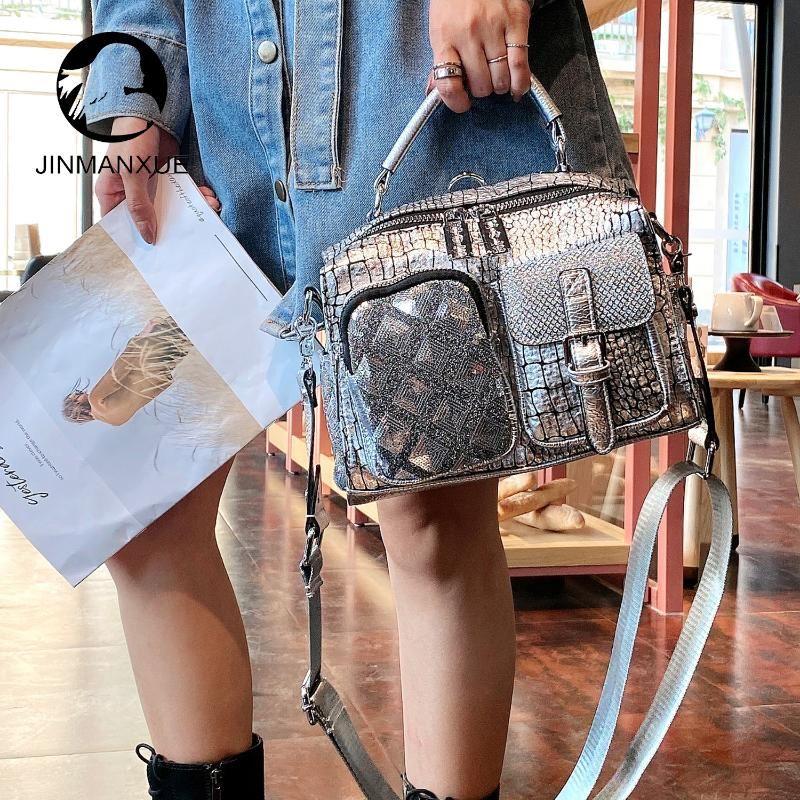 Backpack Fashion Leather Women Designer Wide Shoulder Bag Strap Sac Femme Shining Ladies Handbags Casual Large Capacity Daypack
