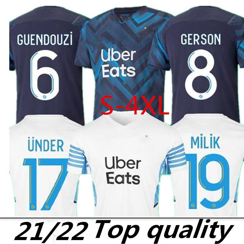 XXXL 4XL Big Taille 21/22 olympique de Marseille Jersey 2021 2022 Om Milik Maillot Foot Cuision Benetto Kamara Football Shirt Thauvin Payet