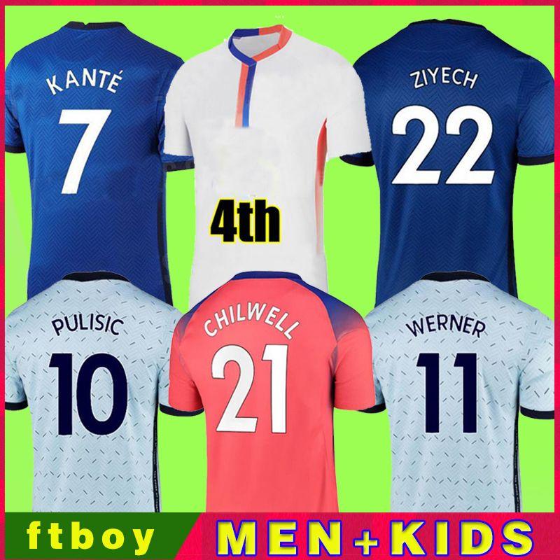 Nova Tailândia Quarto 20 21 22 22 Werner Havertz Chilwell Ziyech Futebol Jerseys 2020 2021 2022 Camisa de Futebol Pulisic Kante Mount 4th Men Kids Set Kits Tops