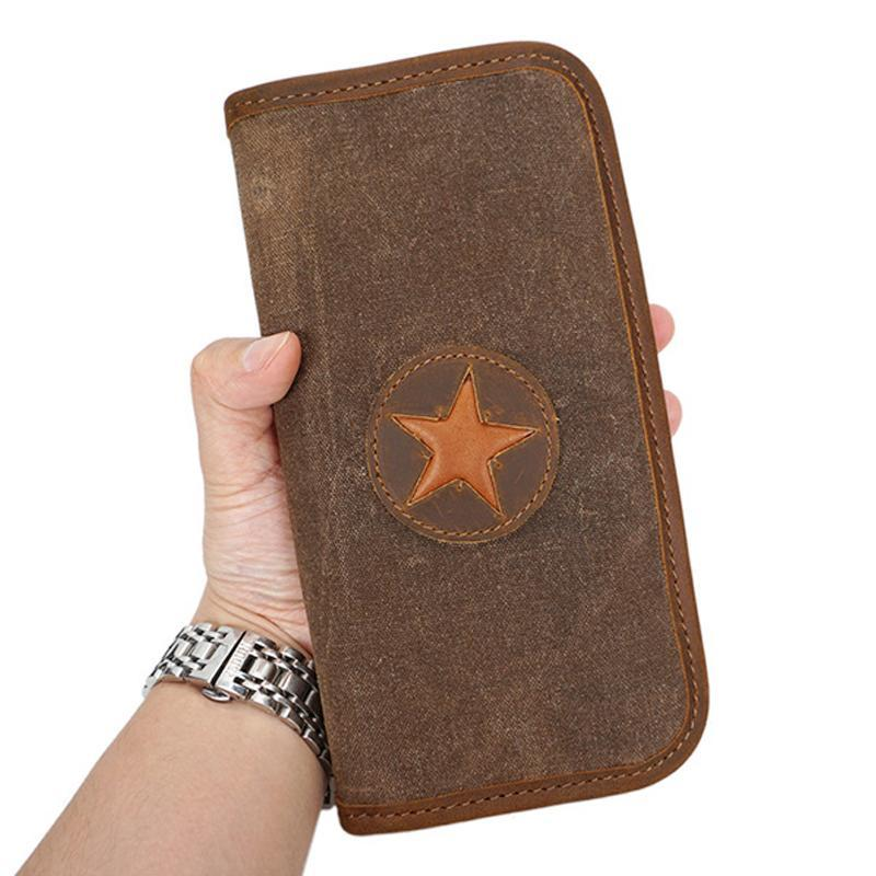 Vintage Star Design Longe Wallets For Women Men 80% Canvas And 20% Crazy Horse Leather Coin Purses Card Holder Cell Phone Bags