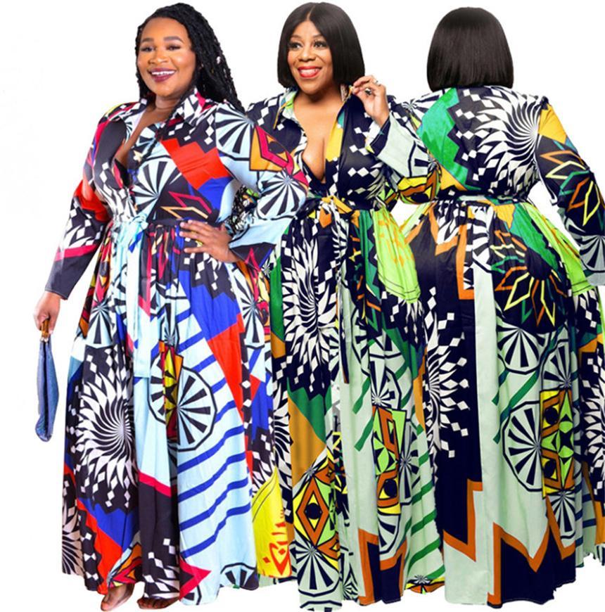 Plus Größe 5XL Frauen Kleider Sexy V-Ausschnitt Maxi Röcke Mode Sommer Kleidung Drucken Freies Kleid Lose Langarm Kleid Freies Verschiffen 4514