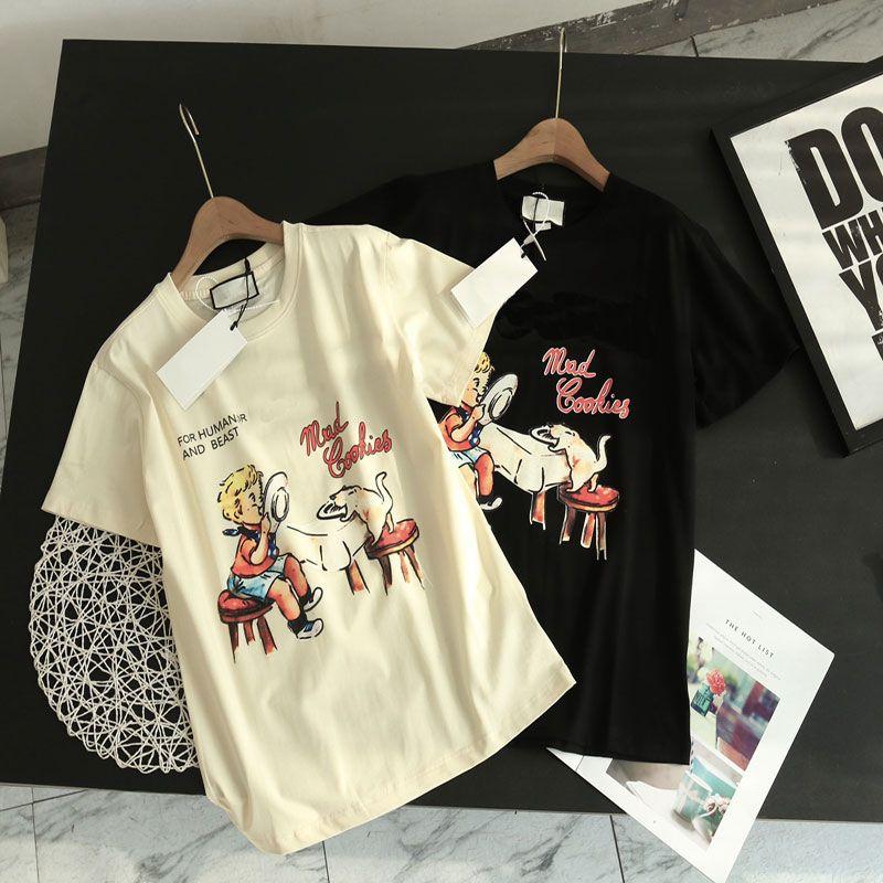 Neue Sommer Männer Frauen T-Shirts mit Brief gedruckt Casual Herren T-shirt Top Qualität Männer Mode Tees Streetwear Kleidung 2 Farben