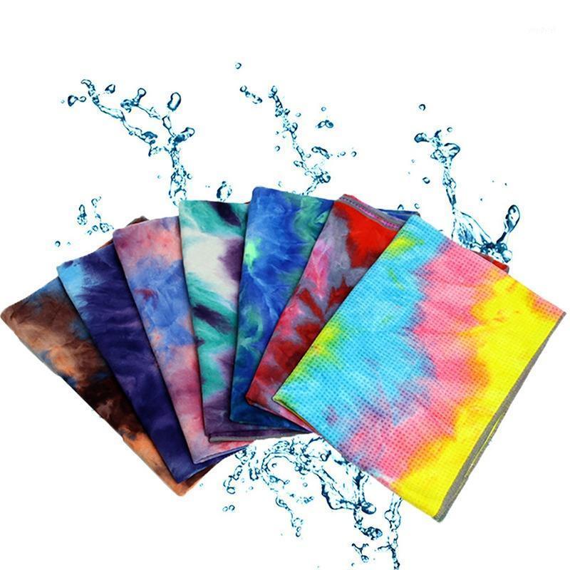 Gimnasio natación antideslizante yoga toalla suave viaje deporte fitness ejercicio ejercicio yoga pilates mat de tinte tinte estera impresa 183x63cm1