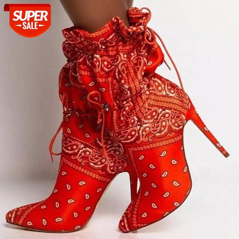 Bandana Kadınlar Ayak Bileği Boot Kamuflaj Ciro Elastik Sıkı Seksi Kısa Patik Kadınlar Yüksek Topuk Bandana Ayakkabı Moda Ayak Bileği Çizmeler # 3Q7i