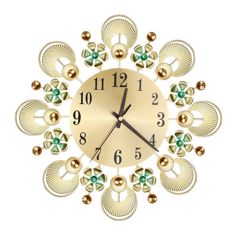 Vintage fiori e diamanti in ferro battuto orologio da parete in ferro creativo muto orologio da parete decorazione del soggiorno