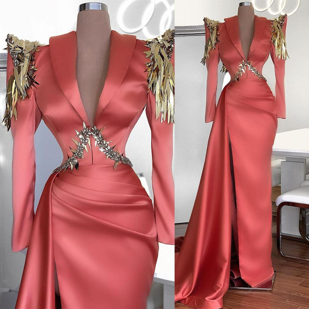 Sexy Sequins African Mermaid Evening Dresses Sparkly Beaded V Neck Long Sleeve Prom Dress Formal Party Gowns