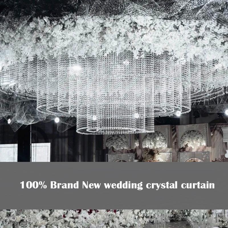 100 % 새로운 웨딩 크리스탈 커튼 럭셔리 유리 구슬 도어 문자열 술 커튼 웨딩 디바이더 패널 장식