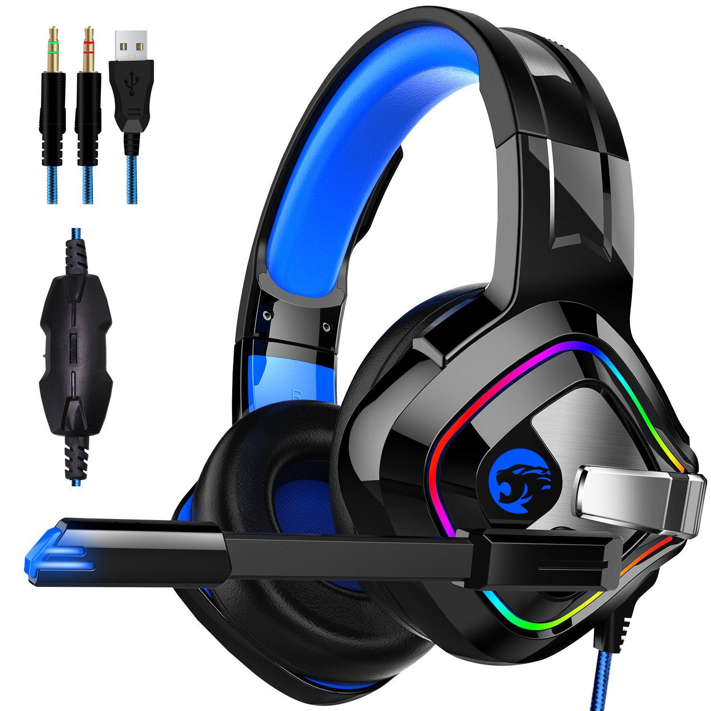 سماعات سماعات مع ميكروفون لجهاز الكمبيوتر Xbox One PS4 / 5 تحكم BASS Laptop Games الضوضاء إلغاء الألعاب سماعة ضوء فلاش