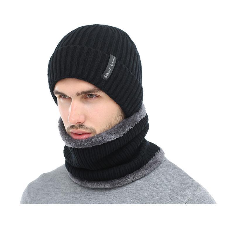 Hüte, Schalshandschuhe Sets Winter Hüte für Männer Frauen Skullies Mützen Männer Strickmütze Mütze Mode Schal Sport Gorras Motorhaube warm dick sein
