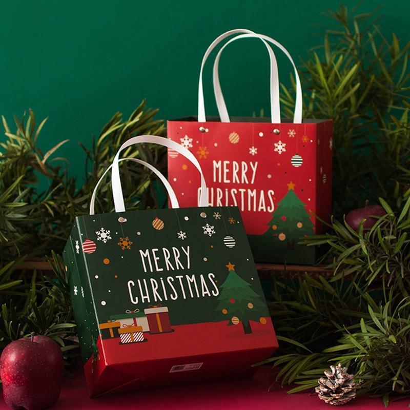 Рождественские украшения подарочные сумки Santa Sacks крафт бумажный пакет с ручкой дети вечеринки благополучие коробки для дома
