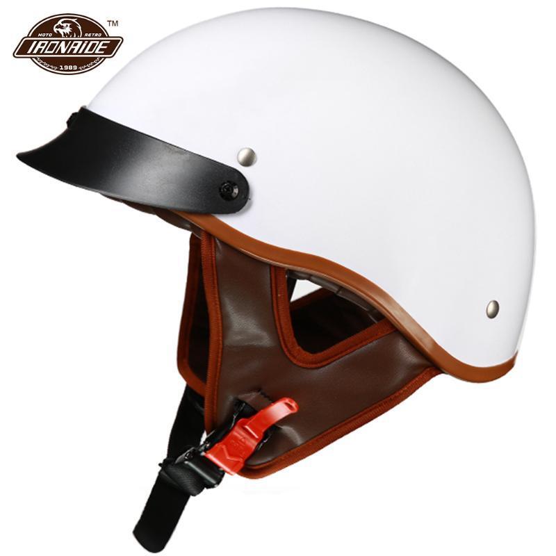 Casques blancs de moto Casque blanc rétro Casco Moto Moto Capacité d'ouverture Accessoires Visage Moto de sécurité