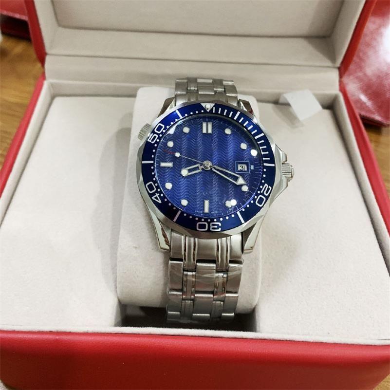 الرجال الفاخرة ساعة المهنية 300 متر جيمس بوند 007 ساعة اليد 2 ألوان أسود / ازرق الاتصال الهاتفي الساعات التلقائي للرجال