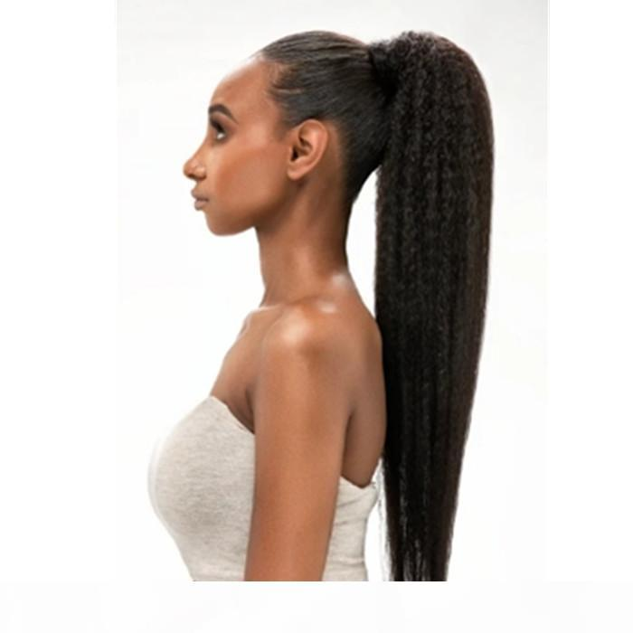 Largo altura brasileña Retudo Straightstring Panytail 100% Real Hair Hair Natural Human Hair Extension Clip en 10-24 pulgadas 140g Brown Negro