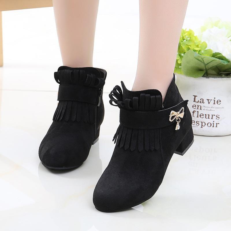 Mode Fransen High Heel Kinder Schuhe Für Mädchen Winter Lederstiefel Kinder Bogen Schneeschuhe Herbst 4 5 6 7 8 9 10 11 12 Jahre alt