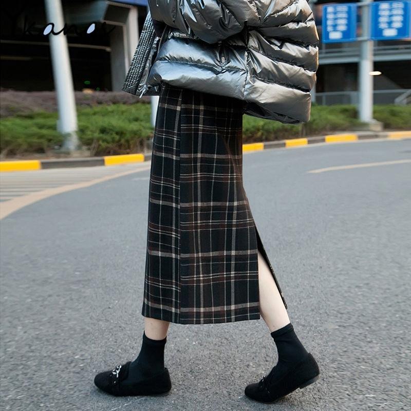 Плюс размер высокой талии MIDI длинные шерстяные клетчатые юбка для женщин зимняя теплая шерсть элегантная офисная леди винтажная юбка осенью макси юбок 210315
