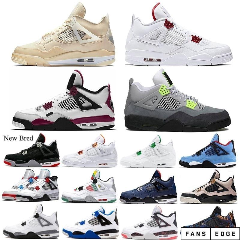 Beyaz Yelken Erkekler 4 4s Basketbol Ayakkabıları Bred Kırmızı Metalik Neon Saf Para Kara Kedi Çimento Erkek Eğitmenler Spor Sneakers Ucuz