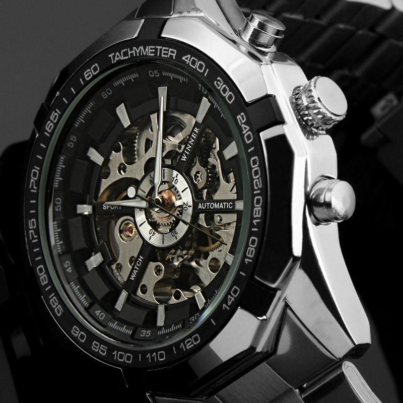 Победитель 340 Классический стиль Мужская мода Досуг Пустые Световые Полуавтоматические механические часы