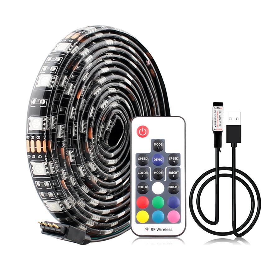 5V USB LED Bande LED Bande 5050 Ruban de lampe RGB TV TV USB Lampe de bande LED USB Étanche 5 V 60ED / M 1M RGB avec télécommande de 24KEK 24KY 24KY