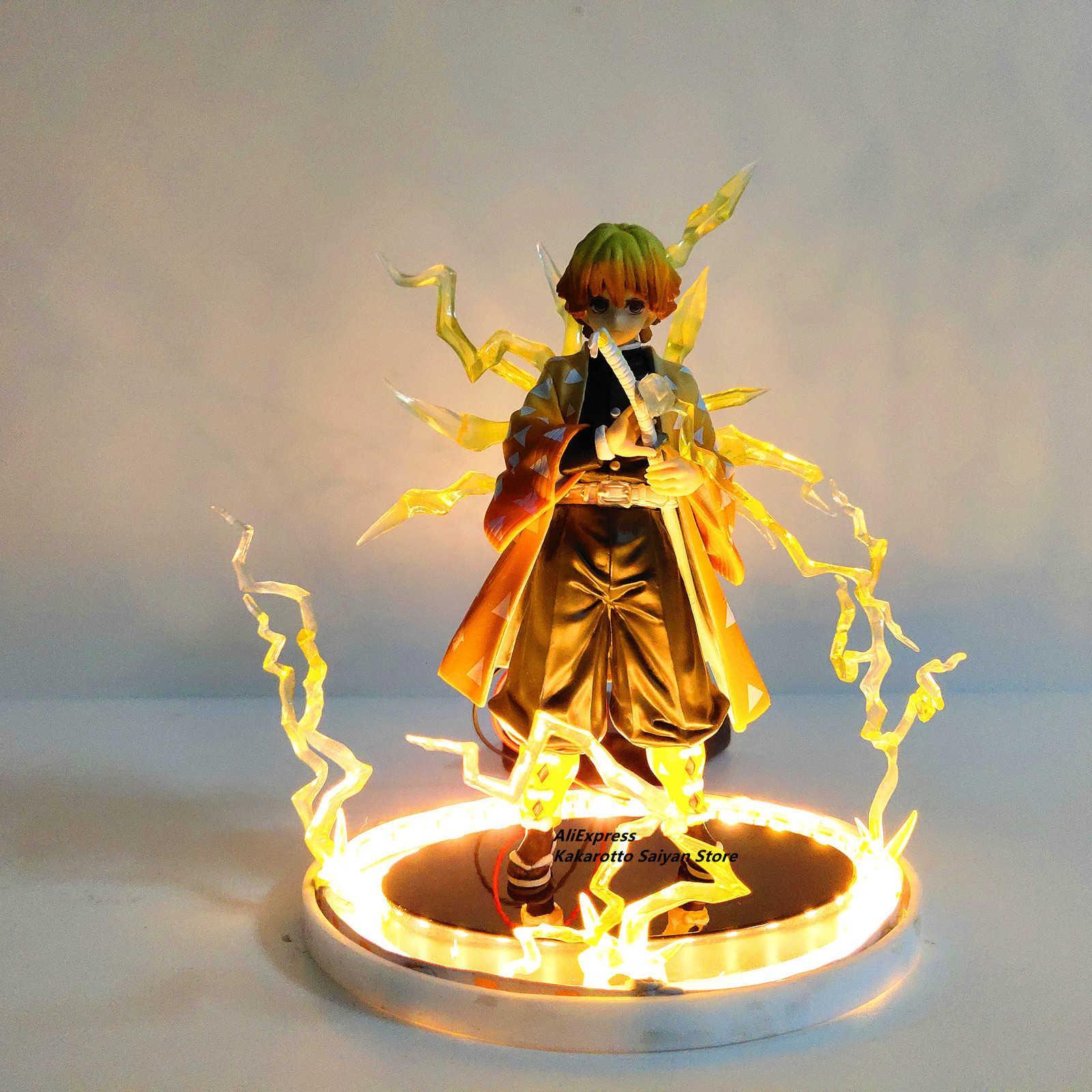 Slayer Demon Agatsuma ZENITSU PVC Action Figures ThunderClap и Flash Effects Anime Kimetsu No Yaiba модельные игрушки 201202
