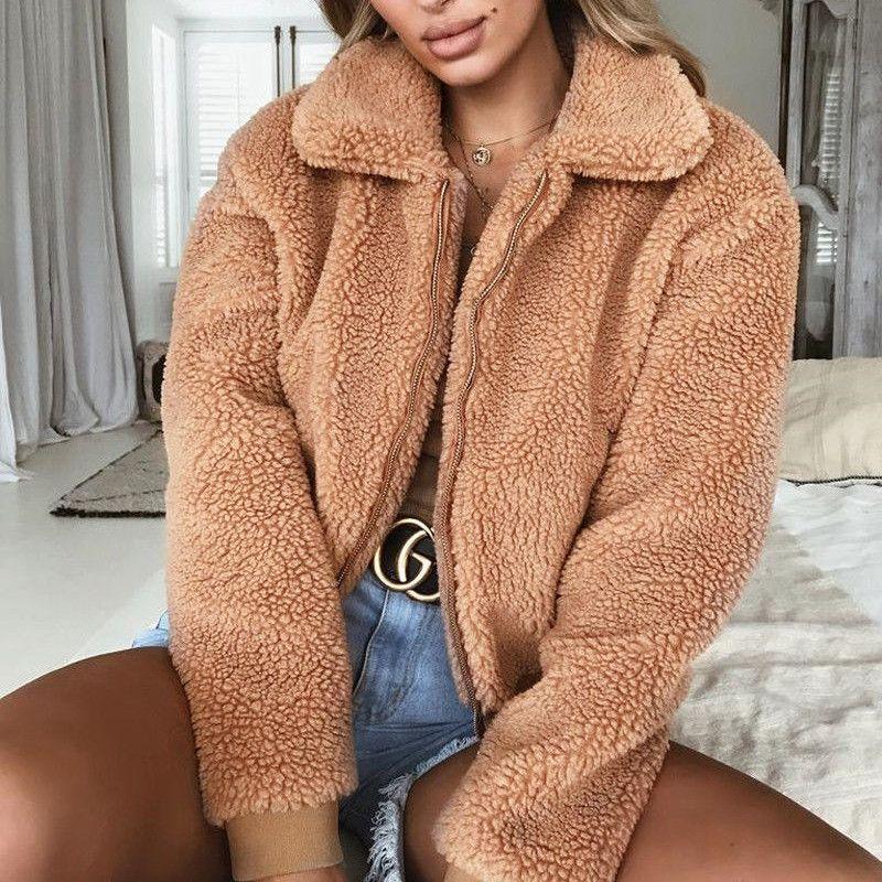 Frauen Mode Faux Schaffell Revers Reißverschluss Jacke Lose Langarm Taschenjacke Warme Winterjacke
