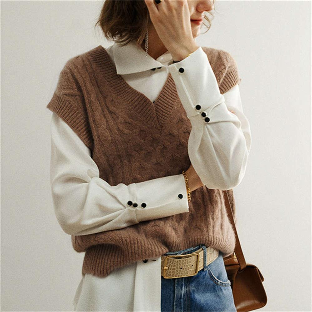 Blue knitted vest women V neck sleeveless oversized pullover vintage Fall winter female waistcoat sweater