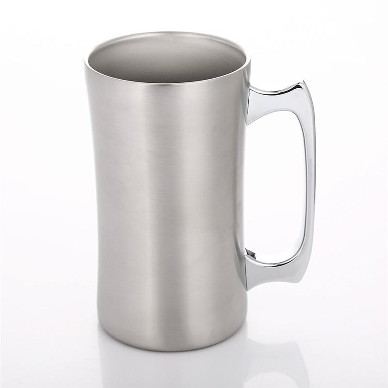 Mugs Premium Stainless Steel Vacuum Double Wall Insulated Beer Mug Coffee Cup Milk Water Soda Tumbler With Handle