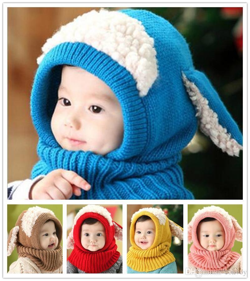 Baby Winter Crochet Warm Hats Cap Girls Kids Handmade knit Woolen yarn caps cute dog shape ear warmer scarf hat KBH116