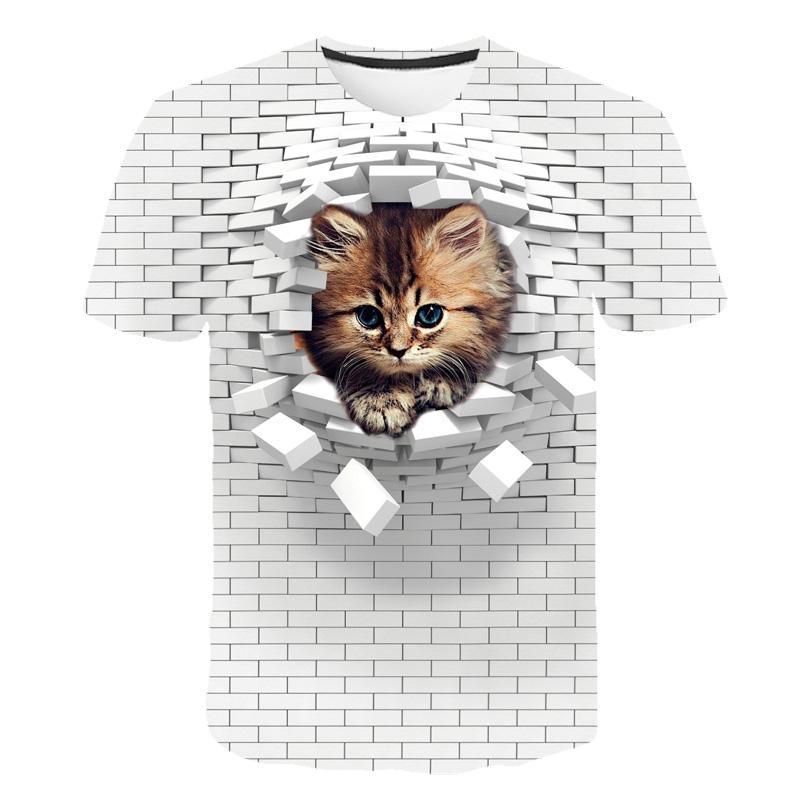 Erkekler 3D Kedi Duvar Baskı Rahat Harajuku Kadın T-shirt Yaz Kısa Kollu O-Boyun Kaliteli Tee Erkek Grils Giysi Üst Kadın T Gömlek