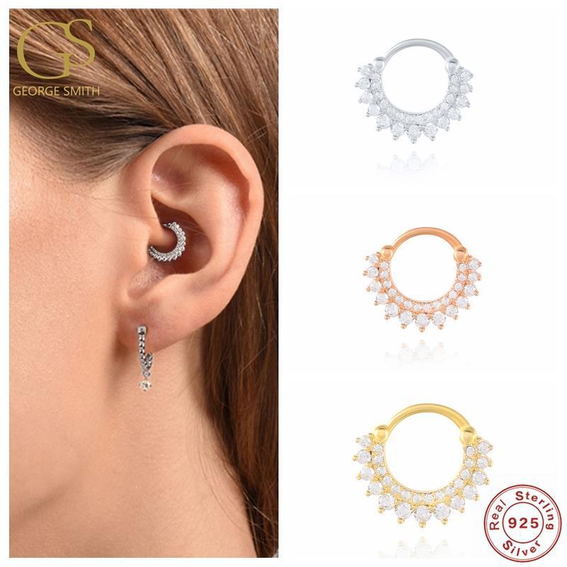 1PC Real S925 Sterling Silver Hoop Earrings for Women Zircon Round Nose Piercing Cartilage Earrings Earings Jewelry pendientes