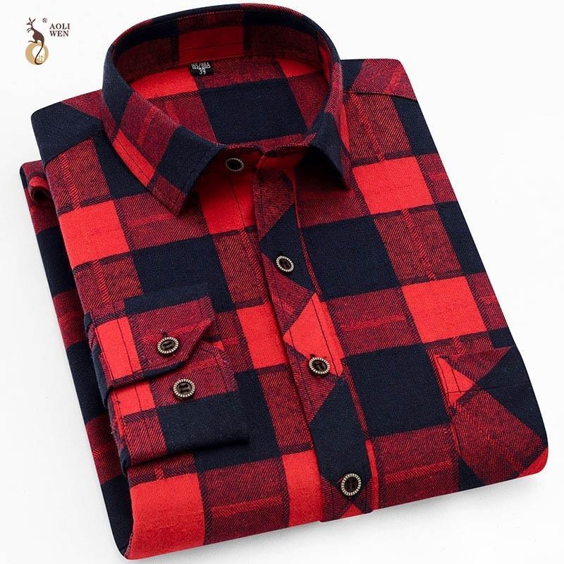 Aoliwen homens moda escovado camisa xadrez camisa casual homens manga longa primavera outono flanela fina encaixe suave confortável 210310