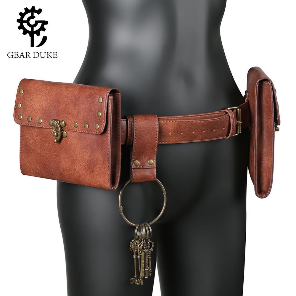 Средневековый мешок сумка Viking ремень кожаный кошелек мужчины женщины стимпанк рыцарь пиратский костюм античный редуктор аксессуар косплей для взрослых 210309