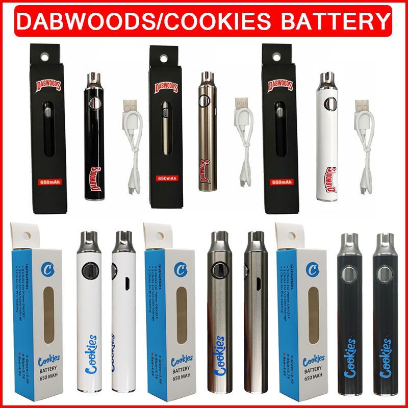 Dabwoods 쿠키 vape 펜 배터리 키트 650mAh 예열 기화기 충전식 조절 가능한 VV 가변 전압 vapes 510 USB 케이블이있는 스레드 배터리