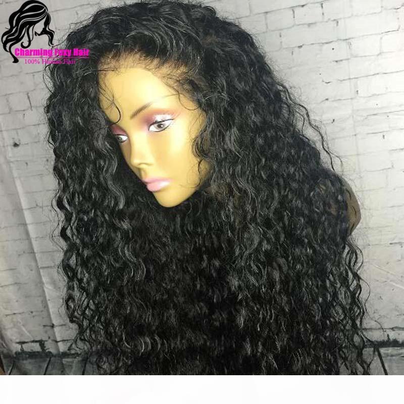 Largas pelucas rizadas sueltas con pelo negro color negro densidad plena encaje sintético peluca frontal para mujeres envío gratis