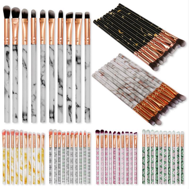 Newest Makeup Brush Set 10pcs/set Eye Brush Foundation Powder eyeShadow Concealer Marble Blending Make-up Brushes High Quality