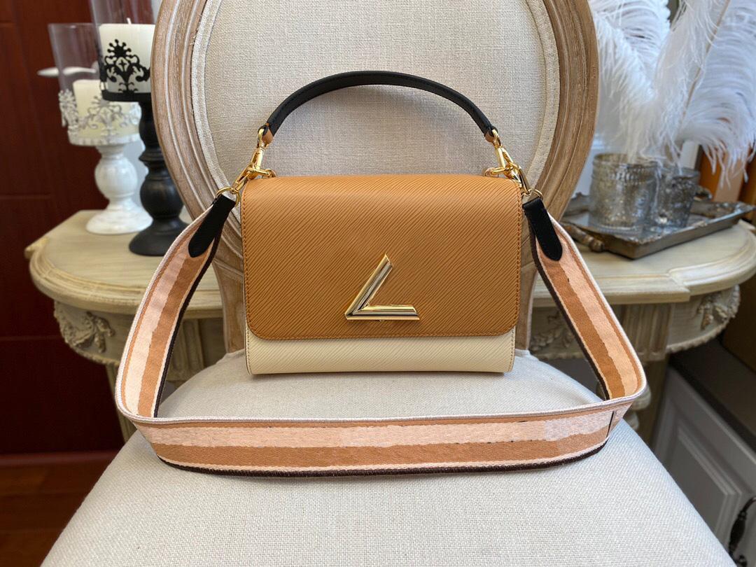 Womens Bag Venda Quente Mulheres Genuíno Couro V Bloqueio Flap Bolsa Preto Pochette Twist Bolsa De Ombro Lady Crossbody Bag Bolsas de alta qualidade