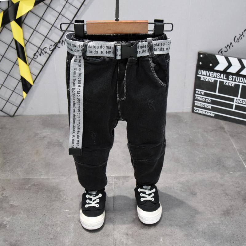 2021 Cinto das crianças Calças Crianças Calças Baby Boys Jeans Plus Velvet para Baby Boys Denim ToDdler Roupas 2-7 Anos KO49