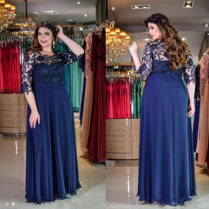 Donanma Mavi Anne Gelin Elbiseler Artı Boyutu O Boyun Yarım Kollu Dantel Uzun Damat Anne Akşam Yemeği Parti için Elbiseler 2021 Abiye giyim