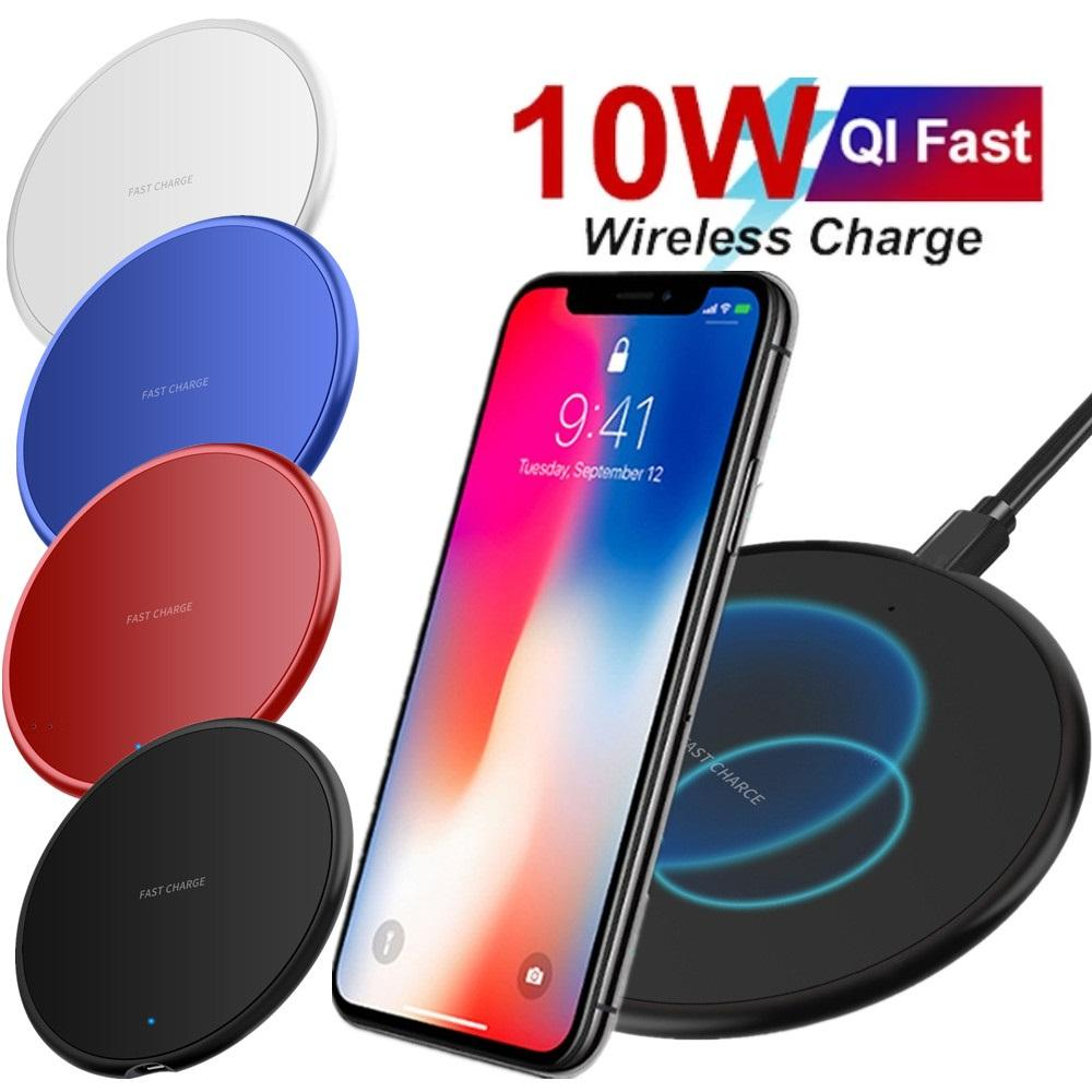 Colorful 10W Fast Wireless Charger Charging Pad Dock Chargers For iphone 8 X xr 11 12 Pro max Samsung