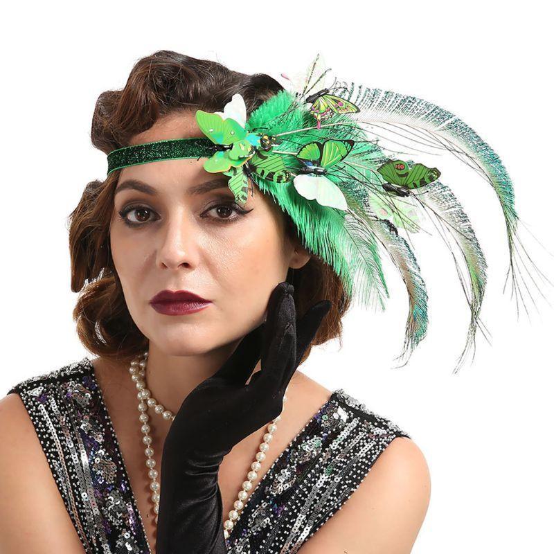 Mujeres 20s Flapper Fascinator Headband Butterflies Avestrich Feather Fiesta Bandana