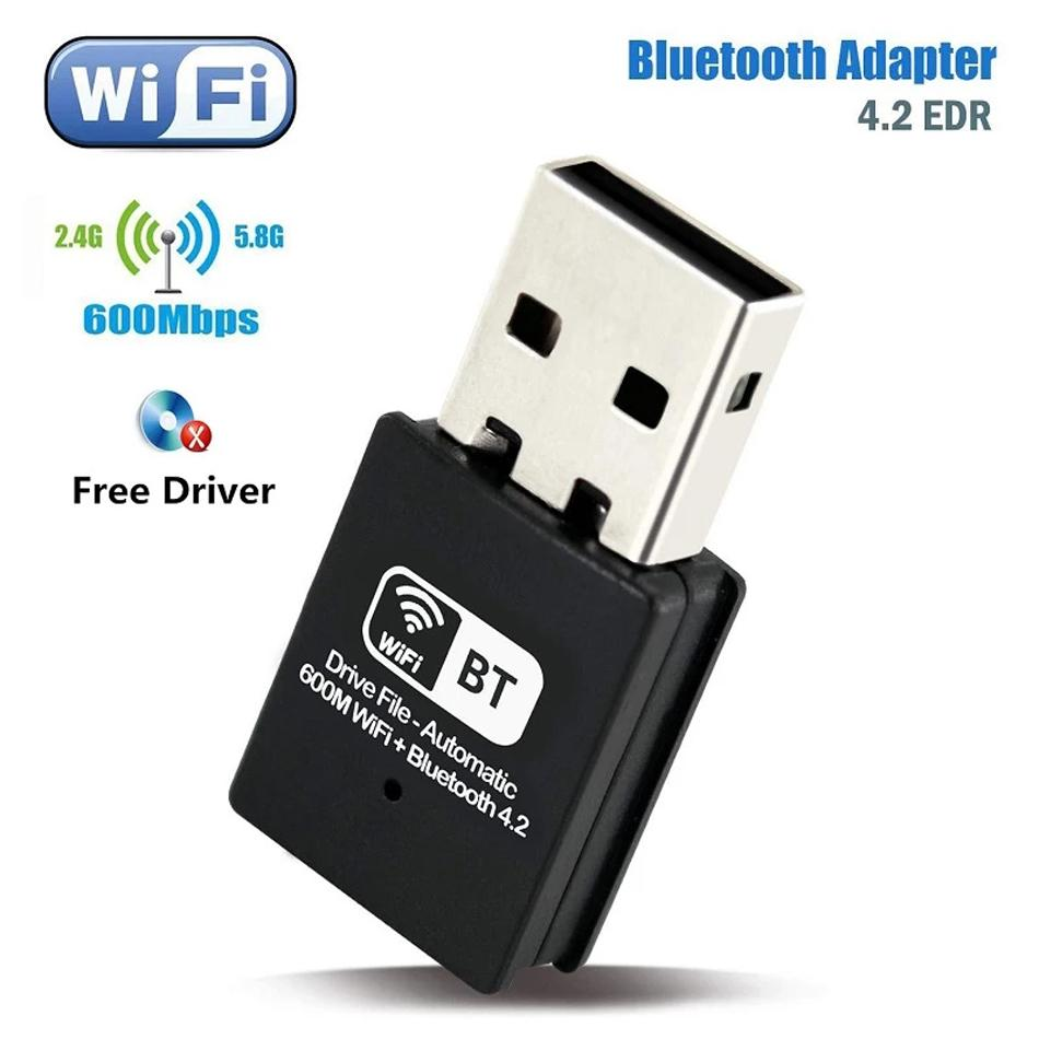 600Mbps USB WiFi Adapter Bluetooth 4.2 Free Driver RTL8192 chips IEEE802.11AC/b/g/n 2.4G 600M Wireless Receiver Network Card Dongle for Desktop Laptop Windows