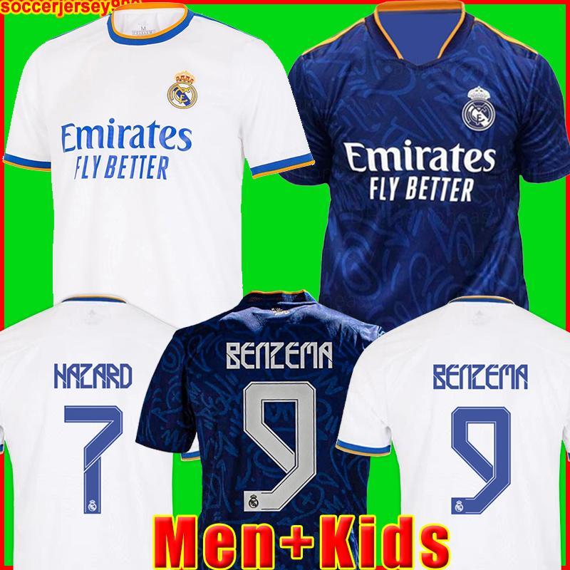طقم ريال مدريد بالقميص جيرسي لكرة القدم قميص أخطار BENZEMA VINICIUS camiseta كرة القدم الزي الرسمي للرجال + الاطفال