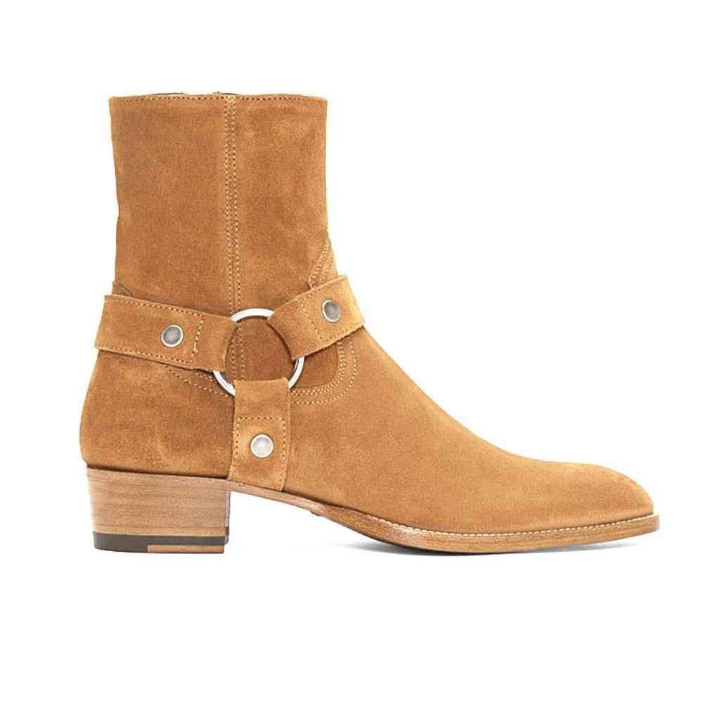 Vente chaude Homme Noir Harnais Véritable Harness Ankle Sude Cuir Ceinturé Classic Colo cuir SLP Kanye West Bottes Chaussures