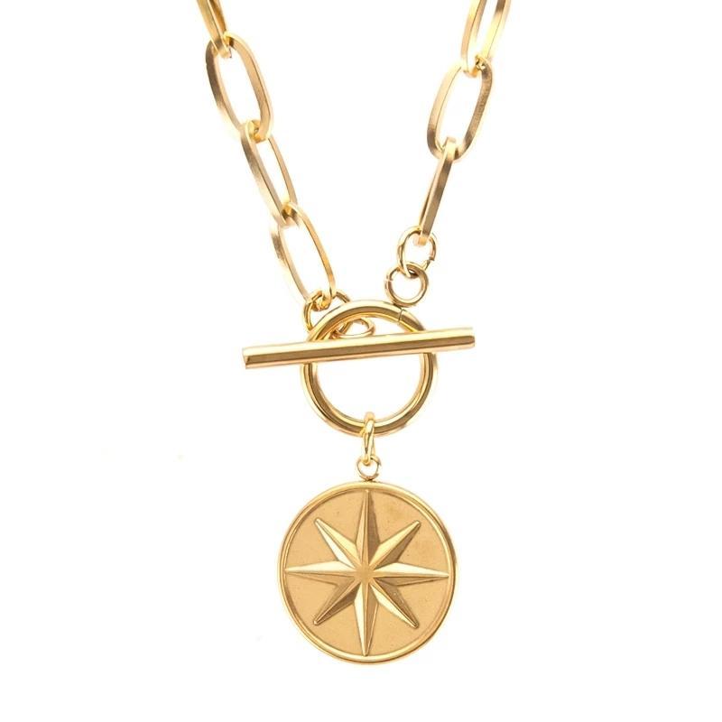 Collier en acier inoxydable en acier inoxydable LC100% en acier inoxydable pour femme or / argent couleur métal médaillon Medallion Collier