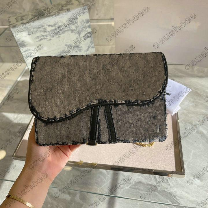 Lady Mini Woc Crossbody Bolse Bolster Messenger Bags Bags Bag Bolso Bolso en cadena oblicua Bordado Cintura Canvas TDPDA
