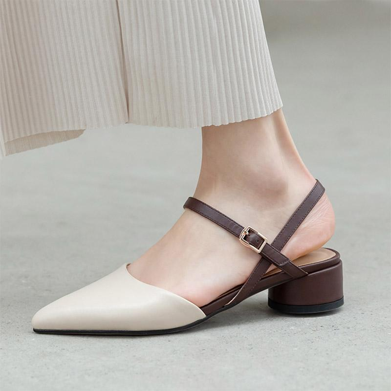 2021 Yaz Kadın Sandalet Karışık Renkler Toka Kayış Elbise Ayakkabı Pompalar Orta Topuklu Bayanlar Ayakkabı Sivri Burun Mujer 8987N